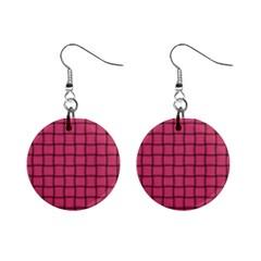 Dark Pink Weave Mini Button Earrings