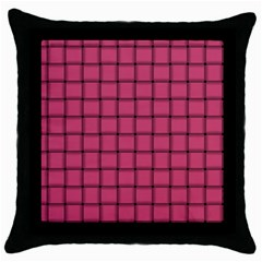 Dark Pink Weave Black Throw Pillow Case