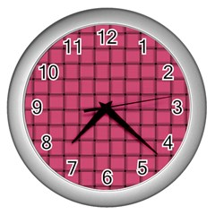 Dark Pink Weave Wall Clock (silver)