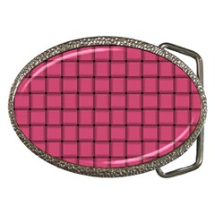 Dark Pink Weave Belt Buckle (oval)