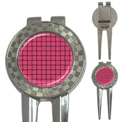 Dark Pink Weave Golf Pitchfork & Ball Marker