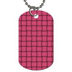 Dark Pink Weave Dog Tag (One Sided)