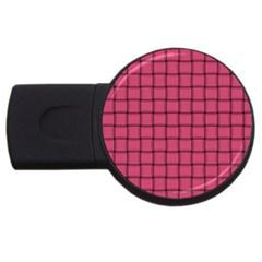 Dark Pink Weave 1GB USB Flash Drive (Round)