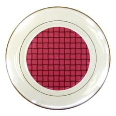 Dark Pink Weave Porcelain Display Plate