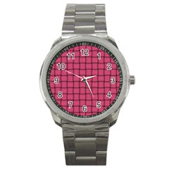 Dark Pink Weave Sport Metal Watch