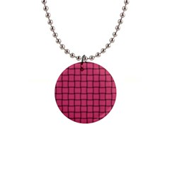 Dark Pink Weave Button Necklace