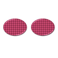 Dark Pink Weave Cufflinks (Oval)