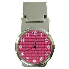 Dark Pink Weave Money Clip with Watch