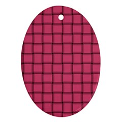 Dark Pink Weave Oval Ornament (Two Sides)