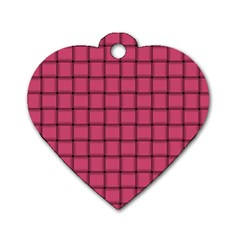 Dark Pink Weave Dog Tag Heart (One Sided)