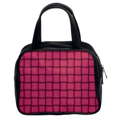 Dark Pink Weave Classic Handbag (Two Sides)
