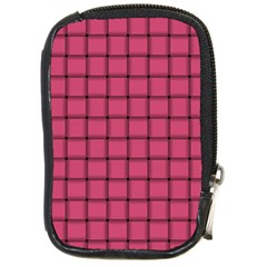 Dark Pink Weave Compact Camera Leather Case