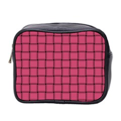 Dark Pink Weave Mini Travel Toiletry Bag (Two Sides)