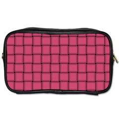 Dark Pink Weave Travel Toiletry Bag (One Side)