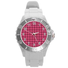 Dark Pink Weave Plastic Sport Watch (large)