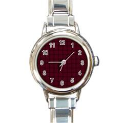 Dark Scarlet Weave Round Italian Charm Watch