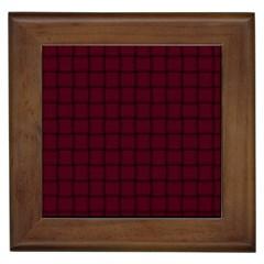 Dark Scarlet Weave Framed Ceramic Tile