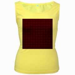 Dark Scarlet Weave Womens  Tank Top (Yellow)