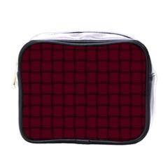 Dark Scarlet Weave Mini Travel Toiletry Bag (one Side)