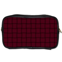 Dark Scarlet Weave Travel Toiletry Bag (Two Sides)