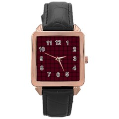 Dark Scarlet Weave Rose Gold Leather Watch