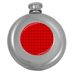 Red Weave Hip Flask (Round)