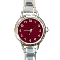 Burgundy Weave Round Italian Charm Watch