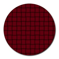 Burgundy Weave 8  Mouse Pad (Round)