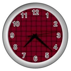 Burgundy Weave Wall Clock (silver)