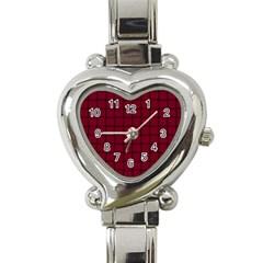 Burgundy Weave Heart Italian Charm Watch