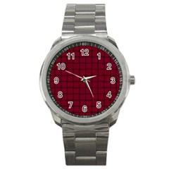 Burgundy Weave Sport Metal Watch