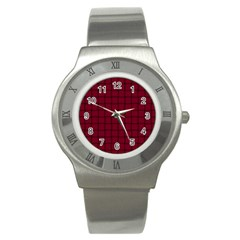 Burgundy Weave Stainless Steel Watch (Unisex)