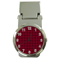 Burgundy Weave Money Clip with Watch