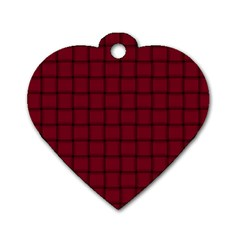 Burgundy Weave Dog Tag Heart (One Sided)