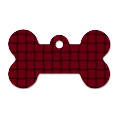 Burgundy Weave Dog Tag Bone (one Sided)