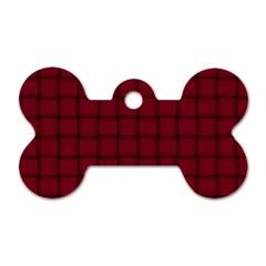 Burgundy Weave Dog Tag Bone (Two Sided)