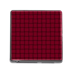 Burgundy Weave Memory Card Reader With Storage (square)