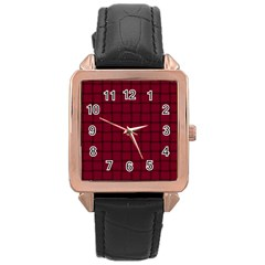 Burgundy Weave Rose Gold Leather Watch