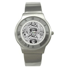 Calavera Oaxaquea By José Guadalupe Posada 1903 Stainless Steel Watch (Unisex)