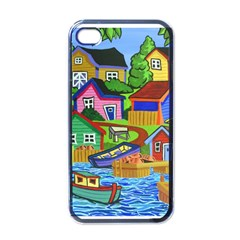 Three Boats & A Fish Table Apple iPhone 4 Case (Black)