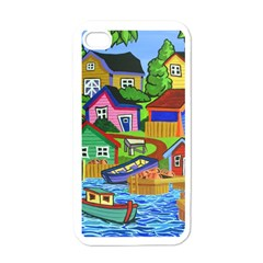 Three Boats & A Fish Table Apple iPhone 4 Case (White)