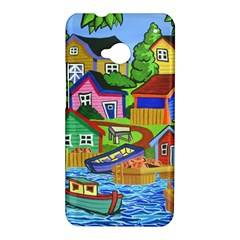 Three Boats & A Fish Table HTC One M7 Hardshell Case
