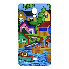 Three Boats & A Fish Table Sony Xperia T Hardshell Case
