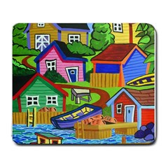 Three Boats & A Fish Table Large Mouse Pad (rectangle)
