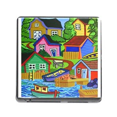Three Boats & A Fish Table Memory Card Reader With Storage (square)