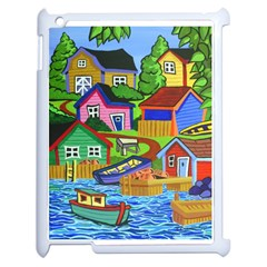 Three Boats & A Fish Table Apple iPad 2 Case (White)