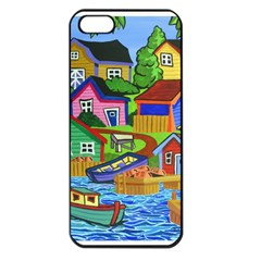 Three Boats & A Fish Table Apple iPhone 5 Seamless Case (Black)