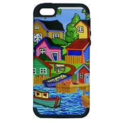 Three Boats & A Fish Table Apple iPhone 5 Hardshell Case (PC+Silicone)