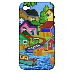 Three Boats & A Fish Table Apple Iphone 4/4s Hardshell Case (pc+silicone)
