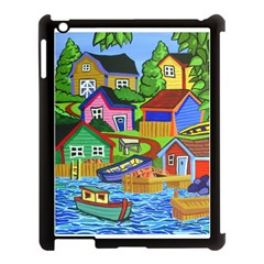Three Boats & A Fish Table Apple iPad 3/4 Case (Black)